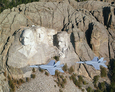Navy F/a-18E Super Hornets Conduct A Fly By Of Mount Rushmore 8X10 Photo