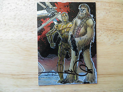 1993 TOPPS STAR WARS GALAXY 1 ETCHED FOIL CHEWBACCA CARD SIGNED WALT SIMONSON