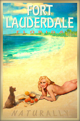 FORT LAUDERDALE Florida Marilyn Monroe Poster Beach Pin Up Girl Art Print 263