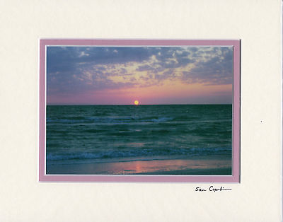 """PINK GULF SUNSET 5"""" X 7"""" PHOTO DOUBLE MATTED TO 8"""" X 10"""" READY TO FRAME SEASCAPE"""