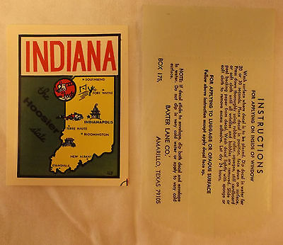 VINTAGE SOUVENIR WATER STICKER DECAL INDIANA THE  HOOSIER STATE BAXTER LANE Co