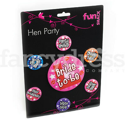 Hen Night 7 Badges Badge Set Bride to Be Hen Party Bag Fillers Gift Accessory