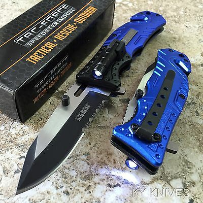POLICE Spring Assisted Opening LED Light Tactical Rescue Folding Pocket Knife!!