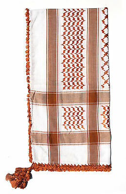 New! Islamic Clothing White and Brown Cotton Arab Kefiyyeh Scarf For Men Arafat