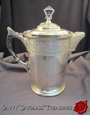 Ornate Aesthetic Movement Triple Plate Silver Lidded Water Jug Barbour Bros.