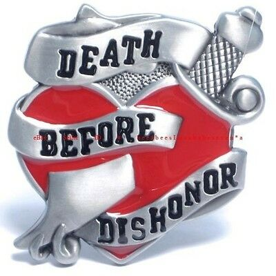 DEATH BEFORE DISHONOR Belt Buckle Heart Black Military Metal BLT-379-RED zix