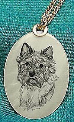 Norwich Terrier Mother of Pearl Pendant w/ Chain