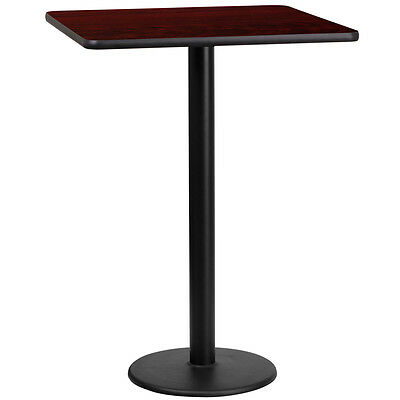 24'' Square Mahogany Laminate Table Top With 18'' Round Bar Height Base