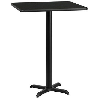 30'' Square Black Laminate Table Top With 22'' X 22'' Bar Height Base