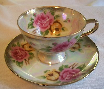 """VINTAGE TEACUP & 6"""" SAUCER PAIR WITH PINK & YELLOW ROSES, AND 24K GOLD TRIM,NICE"""