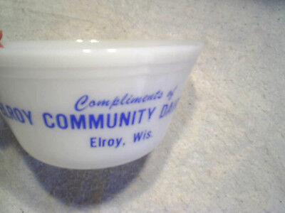 ELROY COMMUNITY DAIRY INC.MILK GLASS MIXING BOWL Elroy,wis.wisconsin,complliment