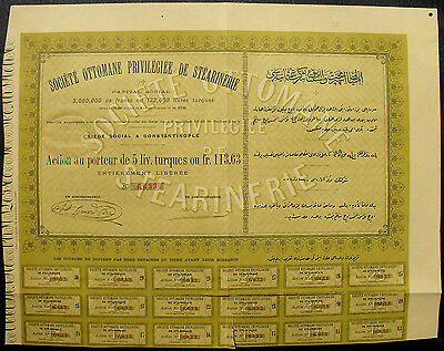Türkei Turkey Societe Ottomane Privilegiee Stearnerie Aktie Action share 1893