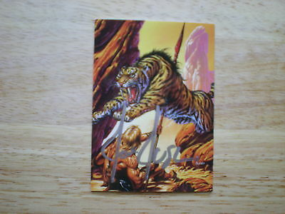 JOE JUSKO'S EDGAR RICE BURROUGHS ERB COLLECTION CARD #81 SABRETOOTH TIGER SIGNED
