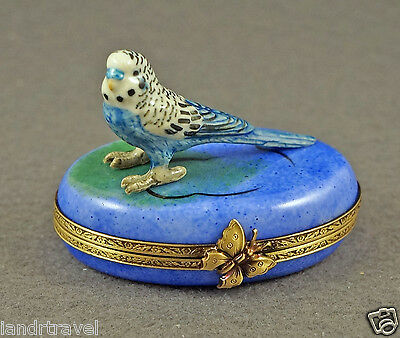 NEW AUTHENTIC FRENCH LIMOGES BOX BLUE PARROT PARAKEET BIRD BUDGIE BUDGERIGAR