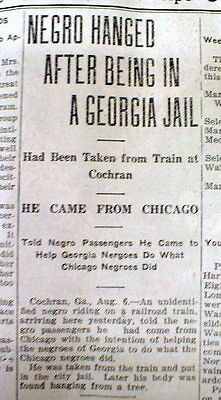 1919 newspaper NEGRO MAN LYNCHED at COCHRAN Georgia by WHITE MOB