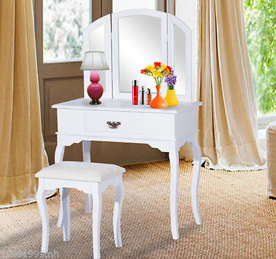 HomCom Wood Makeup Dressing Vanity Table with Stool Mirror Drawers White