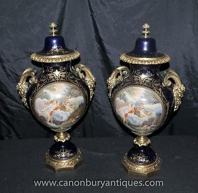 Pair French Sevres Porcelain Angel Vases Urns Satyr Heads