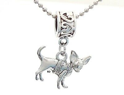Adorable Chihuahua Charm on Heartprint Slider for Bracelet OR Necklace