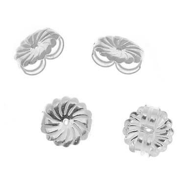 Sterling Silver Large Fancy Earring Backs -Ear Nuts (4)