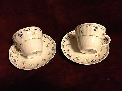 Royal Worcester Set of 2 Cups & Saucers, Ribbons & Bows