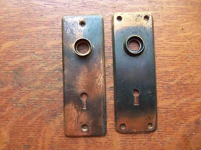 Two Antique Copper Striped Craftsman Doorplates - Door Plates