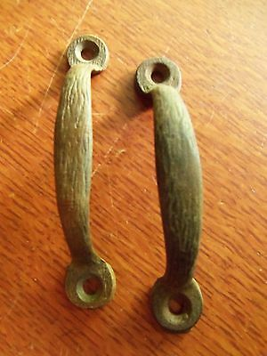 Two Antique Textured Victorian Elegant Craftsman Screen Door Handles Pulls