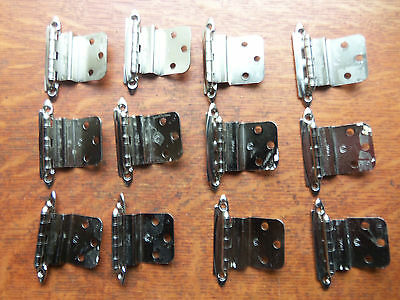 Twelve Nickel Plated Mid-Century Modern Retro Cupboard Door Hinges Offset c1950