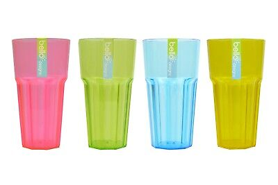 Plastic Drinks Tumbler Outdoors Large Strong Plastic Glasses Pack of 4