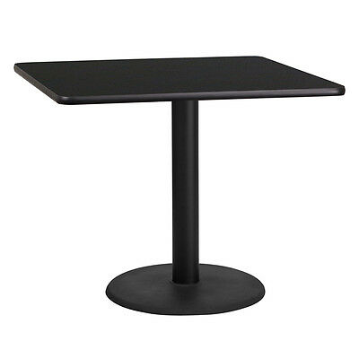 36'' Square Black Laminate Table Top With 24'' Round Table Height Base