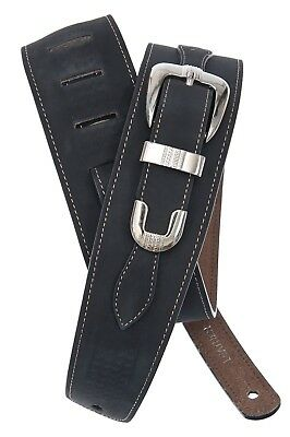 D'Addario - Planet Waves Guitar Strap  Leather  Black  Belt Buckle Style
