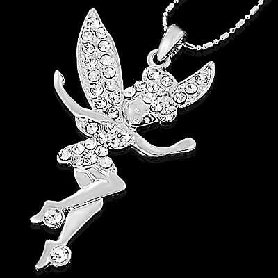 ELEGANCE ANGEL TINKERBELL FAIRY PENDANT CHARM SILVER TONE NECKLACE CHAIN