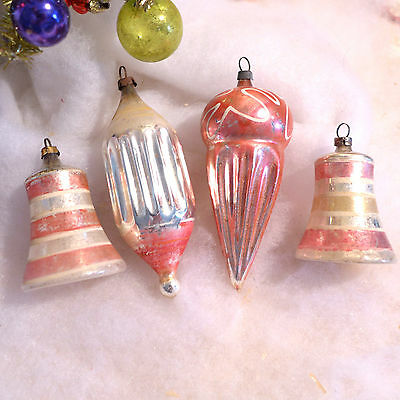 Antique Germany Figural Pink Blown Glass Xmas Ornament Lot Cone Bells Fluted