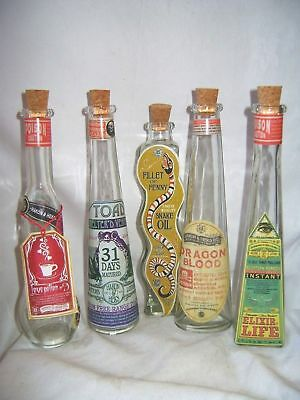 New 5 Fun Apothecary Potion Bottles Snake Oil Love, Life Dragon's Blood Hom Sale