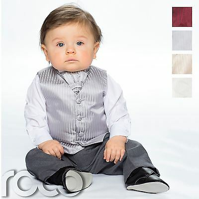 Baby Boys Waistcoat Suit, Page Boy Suits, Grey Trousers, Striped Pattern