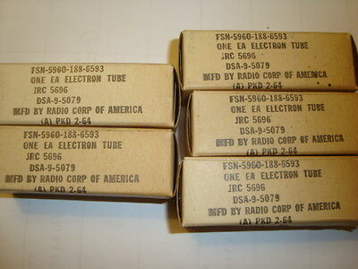 A Lot of Five JRC- 5696 Tubes, By RCA, All New-In-Box