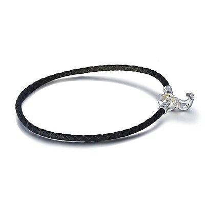 Black Leather Bracelet Chain Necklace For Fashion 925 Silver European Bead Charm