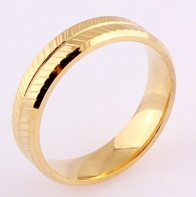 316L Stainless Steel Titanium Ring Jewelry Gold Plated Brushed SZ 7-11Wedding