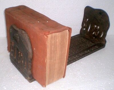 Antique Old Wooden Hand Carved Elephant Figure Both Side Book Rack Stand