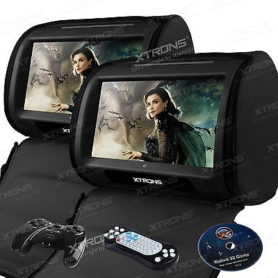 "XTRONS HD908 Black 2x 9"" Car Headrest Digital Monitor Touch Screen DVD Player UK"