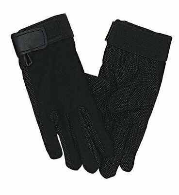 English Or Western Horse Riding Gloves Black Cotton W/ Pebble Palm Xs S M L Xl