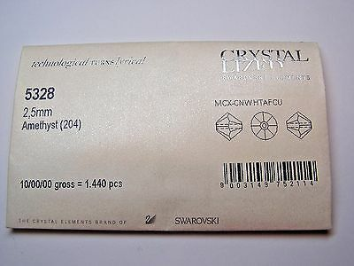 1,440 Pieces Swarovski Crystal Beads #5328 2.5Mm Bicone- Amethyst - Factory Pack
