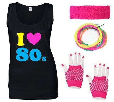 I LOVE THE 80s Ladies Vest & Accessories Fancy Dress Costume Outfit Neon 80's