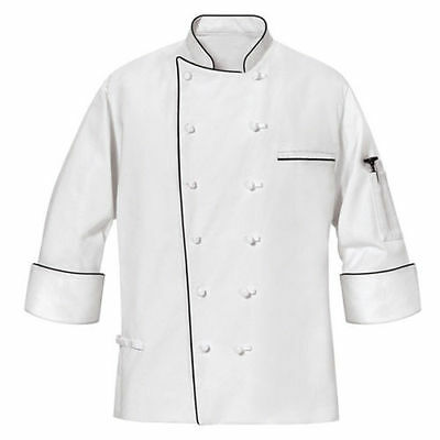 NEW MENS MASTER WHITE CHEF COAT with Black Piping Long Sleeves Size XL,4XL