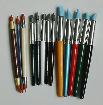 Set of 13 Sculpting Wipe Out Tools Set Color Shapers for Polymer Clay OOAK Doll