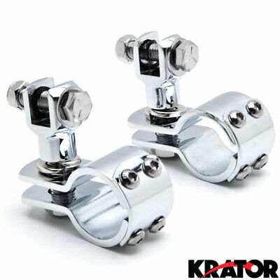 "Chrome 1-1/4"" Foot Peg Adapter Clamps Engine Guard Mounts for Harley Davidson"