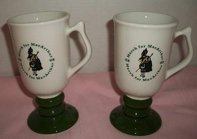 2 Vintage March for MacArthur Footed Mugs Hall China 1968