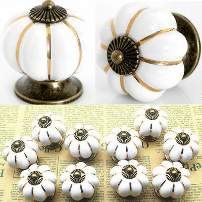 10 X Ceramic Zinc Alloy Bedroom Door Chest Drawer Round Knobs Pull Handles White