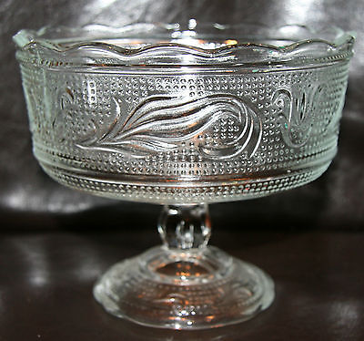 Vintage E O Brody Company Crystal Pressed Glass Compote~Footed Bowl~Dish