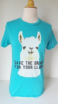 New Black Matter Graphic Tee Shirt SAVE THE DRAMA FOR YOUR LLAMA Aquar Blue Cute