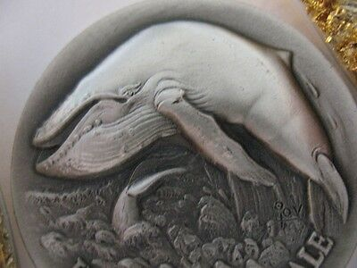 1-Oz .925  Longines Sterling Silver Humpback Whale 3D High Relief  Coin + Gold